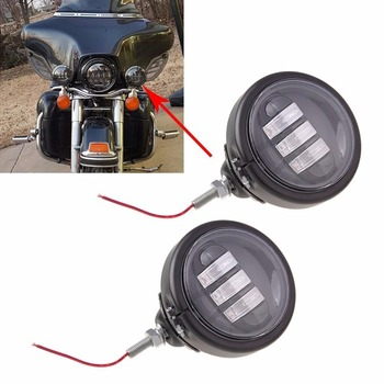 4.5 INCH Motorcycle LED Fog Head light Black Passing lamps + 4.5'' Bracket Mount Ring for Harley Touring Electra Glide