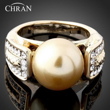 Chran Classic Gold Color Custom Wedding Rings Jewelry Accessories Fashion Faux Pearl Design Crystal Engagement for Women