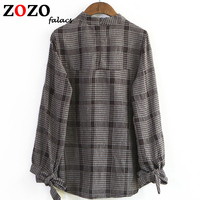 Falacs Zozo Autumn Winter Casual Preppy England Style Formal Blouses Shirts Tops Women Sweet Bow Plaid