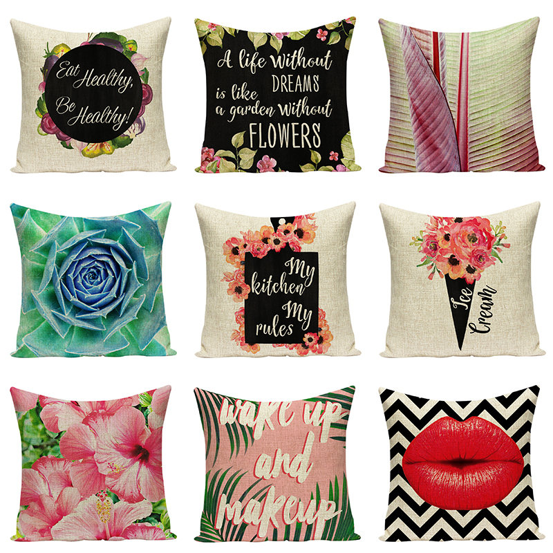 Sex Lips Sofa Decorative Cushions Floral Pillowcases Art Car Seat Accessories Letters Pillow For Chair Cushions Home Decor Gift