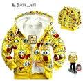 2 - 10 años de edad los niños de la chaqueta de la historieta del bebé y de los niños de SpongeBob grueso Hoodies capa caliente niñas niños prendas de vestir exteriores