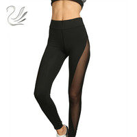 2017 Fashion Sexy Leggings Women See Through Mesh Yo Ga Pants Elastic Push Up Leggings Legins
