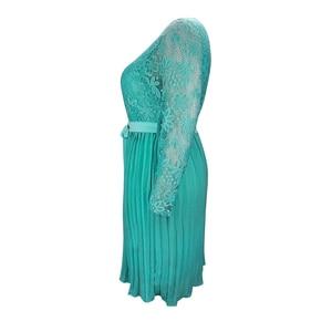 Image 2 - Plus Size Dresses for Women 4xl 5xl 6xl Spring Autumn Boho Vintage Lace Pleated Chiffon Party Dress Female Large Size Dress H162