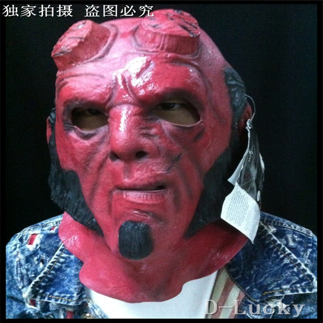 2016 full overhead marvel comic hellboy hell boy mask red devil halloween costume mask scary movie
