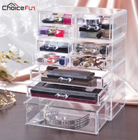 CHOICE FUN Fancy Large Plastic Transparent Cosmetics Makeup Box Case Clear Make Up Desk Drawer Storage Organizer For Girls