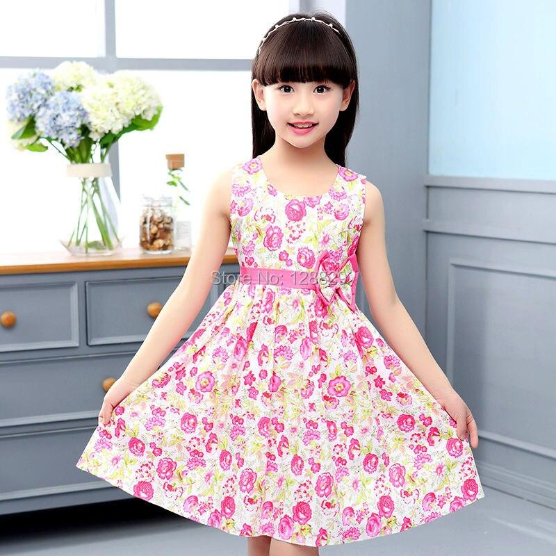 Летние платья для девочек трапециевидные платья для девочек с цветочным принтом одежда для девочек в богемном стиле с круглым вырезом модн...