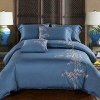 Algodón egipcio bordado de lujo Oriental ropa de cama juego King Queen cama set café Bule edredón cubierta sábana parrure de lit