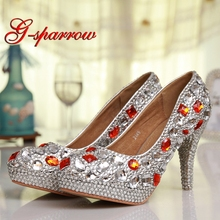 2018 New Designer Silver Rhinestone with Red Crystal Style Wedding Shoes  Homecoming Party Pumps 4 Inches a2396f55dc54