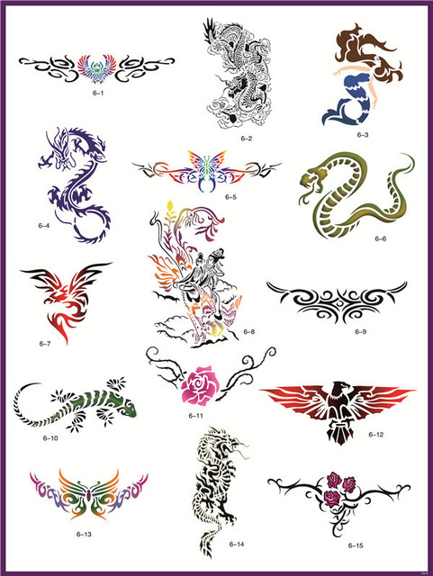 temporary airbrush tattoo stencil template booklet 6 of the animals dragon and others designs. Black Bedroom Furniture Sets. Home Design Ideas