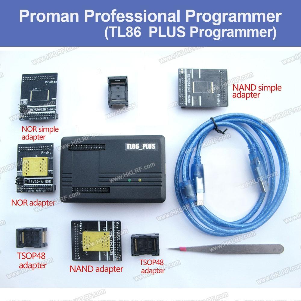 Free shipping NAND ProMan Professional nand flash programmer NAND NOR TSOP48 FLASH programmer TL86 PLUS programmer