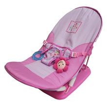 Baby Girls Boys Travel Chair Casual Foldable Chaise Lounge Infant Fold up Seat with Belt and Toys Gift for Baby cadeira para