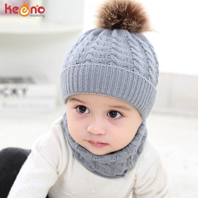 b759a3043a9 Fashion Pom Pom Baby Hat Scarf Set Boys Girls Winter Knitted Ear Flaps  Beanie Hat Newborn Solid Color Warm Bonnet Cap