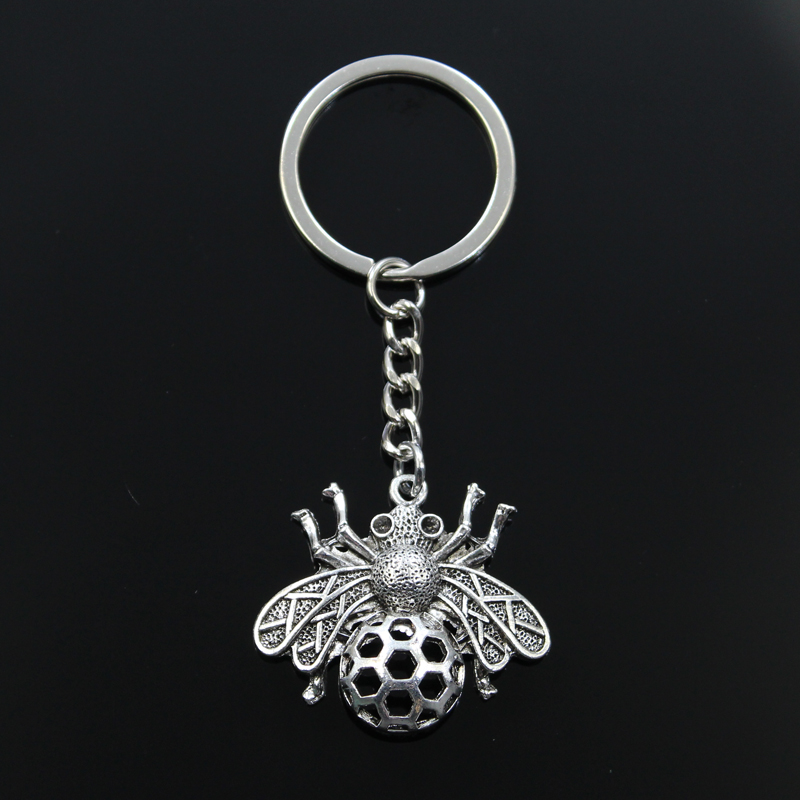 Fashion Keychain 33x36mm Bee Hornet Honey Honeybee Pendants DIY Men Jewelry Car Key Chain Ring Holder Souvenir For Gift