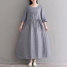 9954952435 2018 spring summer latest fashion women gray linen dress elegant western  dress(China)