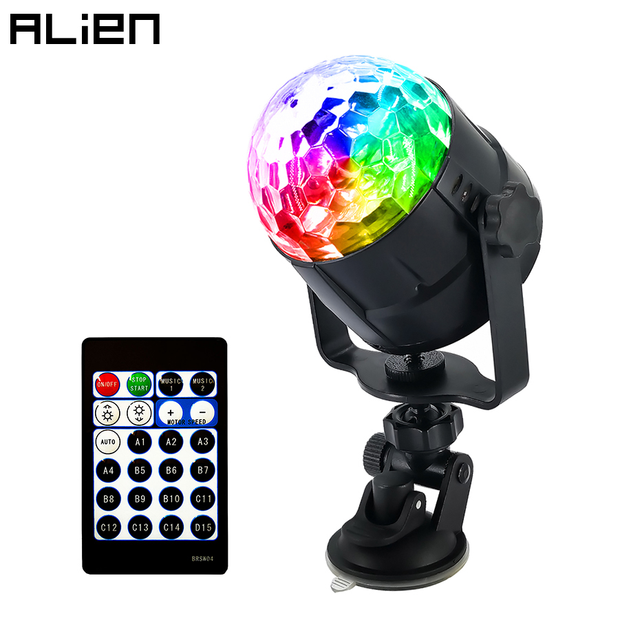 ALIEN RGB 4W 15 Color USB LED Crystal Magic Disco Ball Light DJ Party Car Holiday Birthday Sound Activated Stage Lighting Effect