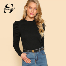 LOSSKY One Shoulder Slope Neckline T Shirt Sexy Solid Long Sleeve Women's Tshirt