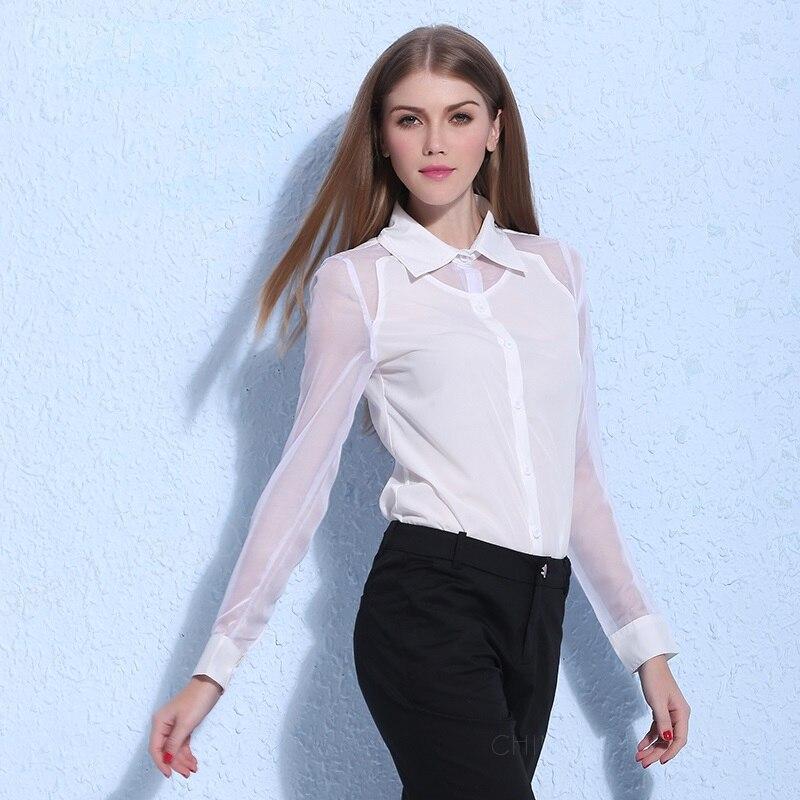 147381b93c72 € 17.31 |Primavera/verano vestido nueva blusa de gasa manga larga  perspectiva de empalme ,Blusa negra y blusa blanca,OLA209 en Blusas y  camisas de ...