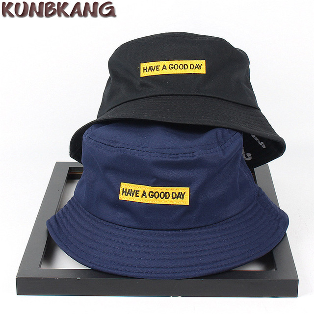 New Summer Cotton Plaid Bucket Hat Women Men Patch Letter Sun Fisherman Hat  Embroidery Outdoor Street Casual Panama Bucket Cap 72069d58f97