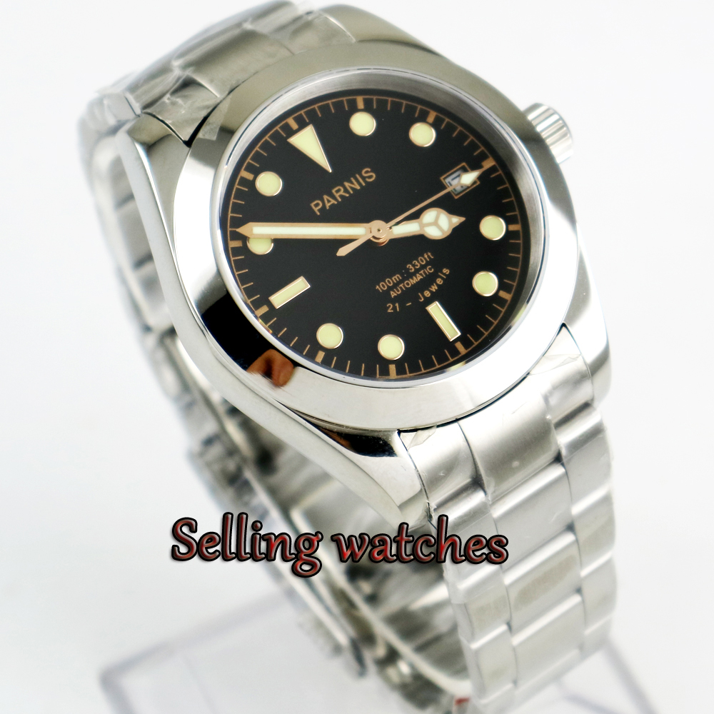 40mm Top Brand Parnis Black Dial Miyota Automatic Movement Stainless Steel Sapphire Mens Watches 40mm parnis white dial vintage automatic movement mens watch p25