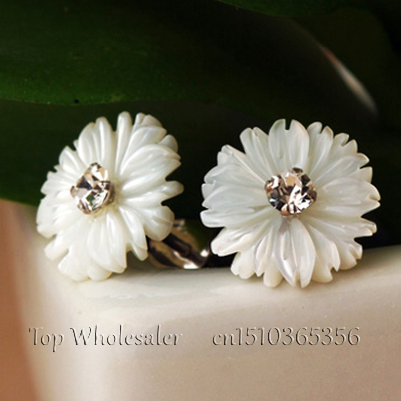 Whole Natural Mother Of Pearl S Daisy Flower Stud Earrings For Women Genuine 925 Pure Sterling Silver Fashion Jewelry In From