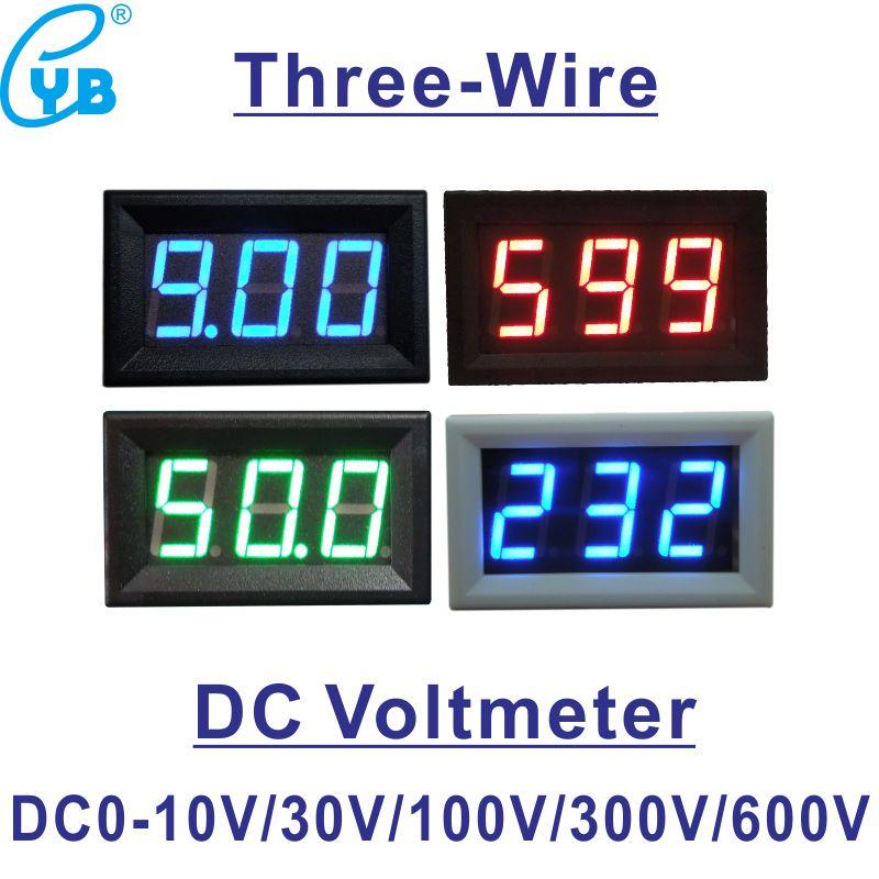 YB27 три провода светодиодный цифровой измеритель напряжения Вольтметр постоянного тока 0-10 в 0-30 в 0-100 в 0-300 в 0-600 в детектор напряжения вольт П...