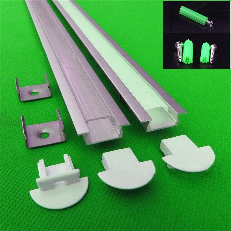 5-30 pcs/lot, 1 m de long profilé d'aluminium LED, profil en aluminium pour la bande de LED 5050/5730 10-12mm pcb, logement léger de barre de LED