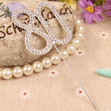 Glisten Diamante Dual Numeral 80 Rhinestone Cake Toppers for Wedding Birthday Party  Stand Decoration Centerpieces