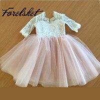 Long Sleeve Princess Little Flower Girl Dresses 2 Two Piece Puffy First Communion Dress Vestido De