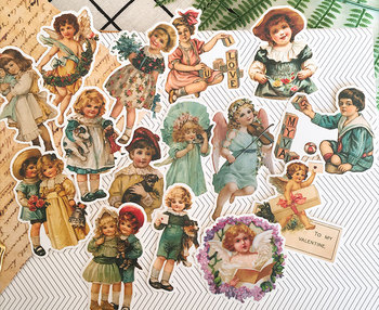 Retro European Angel Baby Sticker Decoration Stationery Sticker Diy Ablum Diary Scrapbooking Label Sticker Kawaii Stationery 50pcs box sweet heart cake paper sticker decoration stickers diy ablum diary scrapbooking label sticker kawaii stationery