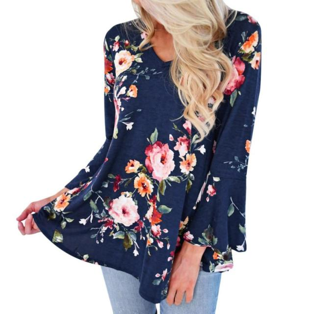 16d193fe611 Plus Size 2018 Women s Blouse Floral Print V Neck Long Sleeve Casual Tops  Female Elegent Loose