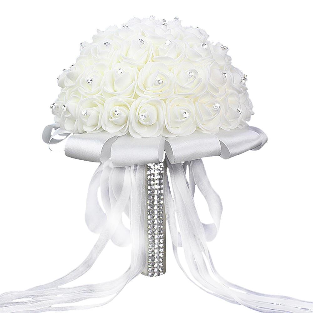 Artificial Wedding Bouquets Hand Made Rose Flower Rhinestone Bridesmaid Bridal Wedding Bouquet De Mariage Wedding Accessories