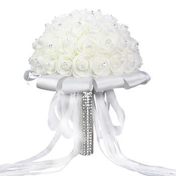 Sztuczne bukiety ślubne ręcznie robione róża kwiat z kryształkiem druhna ślubny bukiet ślubny de mariage akcesoria ślubne tanie i dobre opinie SILK CG03128A1