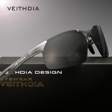 VEITHDIA Aluminum Magnesium Semi-rimless Polarized Sunglasses Men Driving Sun Glasses Eyewear Accessories oculos male shades