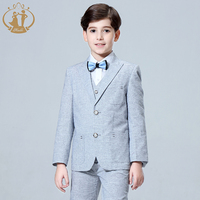 2019 New Kids Plaid Wedding Blazer Baby Boys Suit Jackets Formal Coat+ Pants+vest 3Piece Boy Suits Formal for Wedding Party Boys
