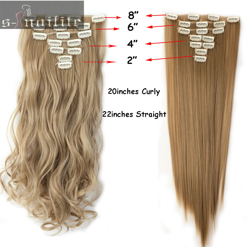 S Noilite 20 Inches 7 Piecesset Full Head Weft Curly Clip In Hair