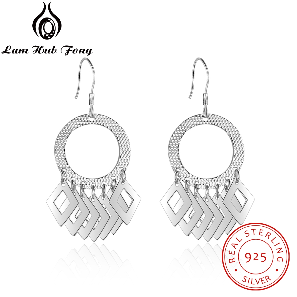 Dangle-Earrings 925-Sterling-Silver Jewelry-Accessories Women Geometric for Party
