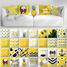 87d502405e3 Funda de cojín geométrico gris amarillo decoración para el hogar funda de  almohada de terciopelo para sofá 45 cm 45 funda de alm.
