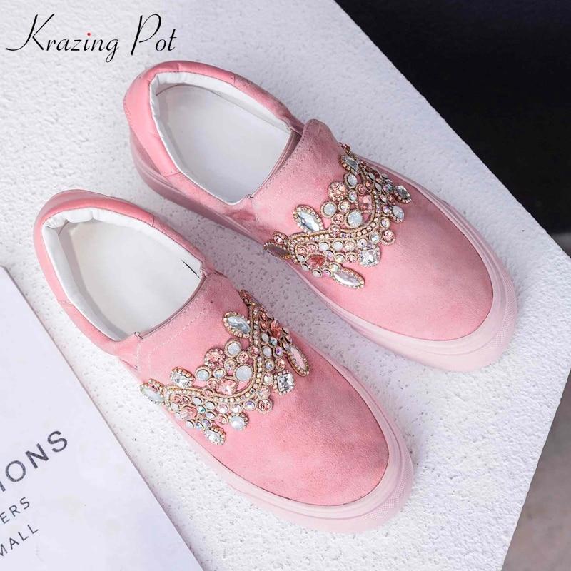 Gladiateur rose forme Diamant Luxe Superstar Krazing Rond Strass Vulcanisées Décoration Enfant De Plate Chaussures L25 Noir Pot Bout Daim Femmes 0wOvm8Nn