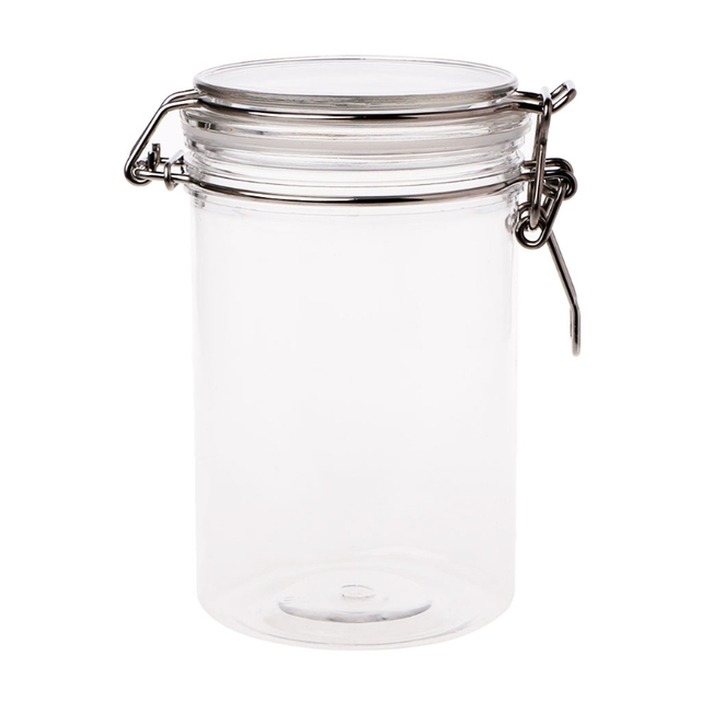 New Glass Food Storage Jar With Air Tight Sealed Metal Clamp Lid Tall  Kitchen Cruet Nov20