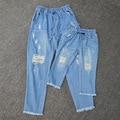 Hijo de madre E Hija Ropa A Juego moda ripped denim Pantalones Trajes A Juego Family Look blue jeans Estilo Del otoño Del Verano