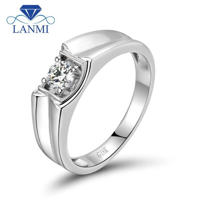 Cool Men s Wedding Band Diamond Rings Solid 18K White Gold Fine