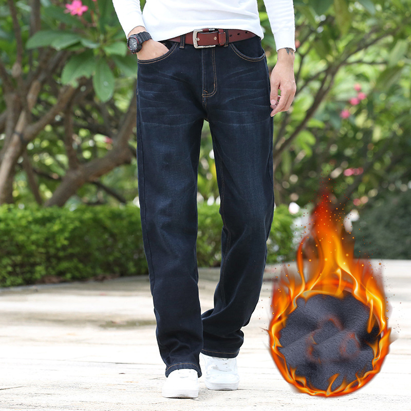 Mens Quality Winter Fleece Stretch Denim Straight Thicken inside Denim Jeans Warm Fleece Jeans