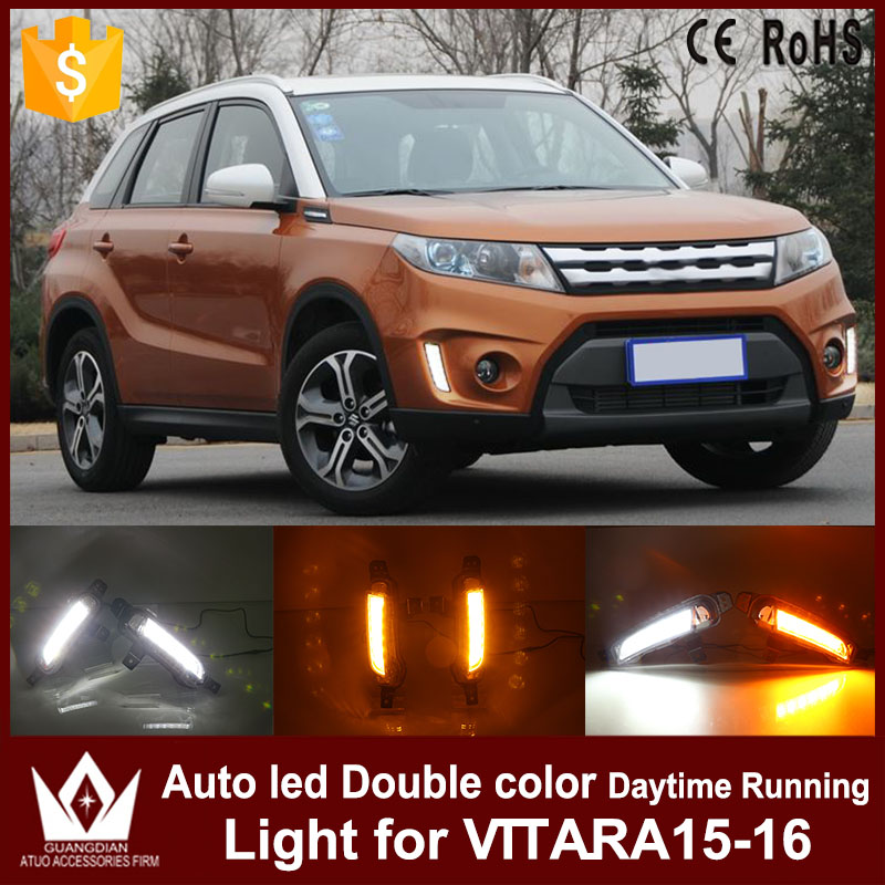 Tcart LED Daytime Running Lights DRL With Yellow Turn Signal Light for Suzuki Vitara 2015 2016 Waterproof ABS Case car DRL tcart for toyota rav4 2016 2017 drl daytime running light with turn signal light function headlight fog lights led car day light