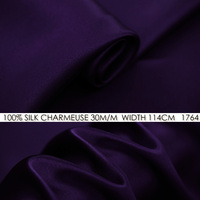 IPEK CHARMEUSE SATEN 114 cm genişliği 30 momme/100% Saf Ipek Kumaş/Düğün Elbise Dikiş Kumaş Tedarikçileri Derin mor HIÇBIR 1764