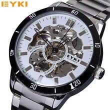 EYKI часы мужчины фирменное наименование новый роскошные часы скелет аналоговый циферблат ночник нержавеющей стали автоматические механические хаб часы
