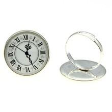 20mm Vintage Roman Numerals Clock Glass Cabochon 2 Colors Antique Bronze & Shiny Silver Color Handmade Adjustable Rings