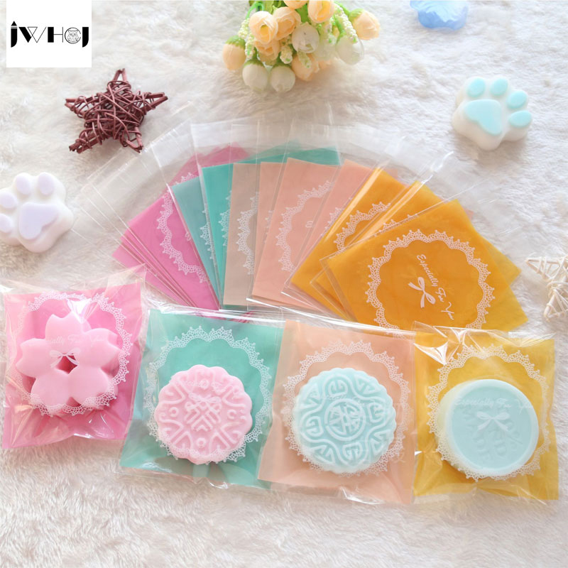 100 Pcs Bowknot Bud Silk Adhesive Bag Cookies Diy Gift Bags For Christmas Wedding Party Candy Food&Handmade Soap Packaging Bags