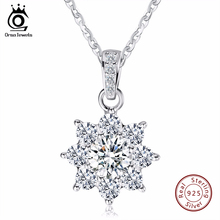 ORSA JEWELS Luxury Crystal Snowflake Pendants&Necklaces Genuine 925 Sterling Silver Necklace Gift for Women SN44(China)