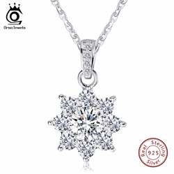 ORSA JEWELS Luxury Crystal Snowflake Pendants&Necklaces Genuine 925 Sterling Silver Necklace Gift for Women SN44