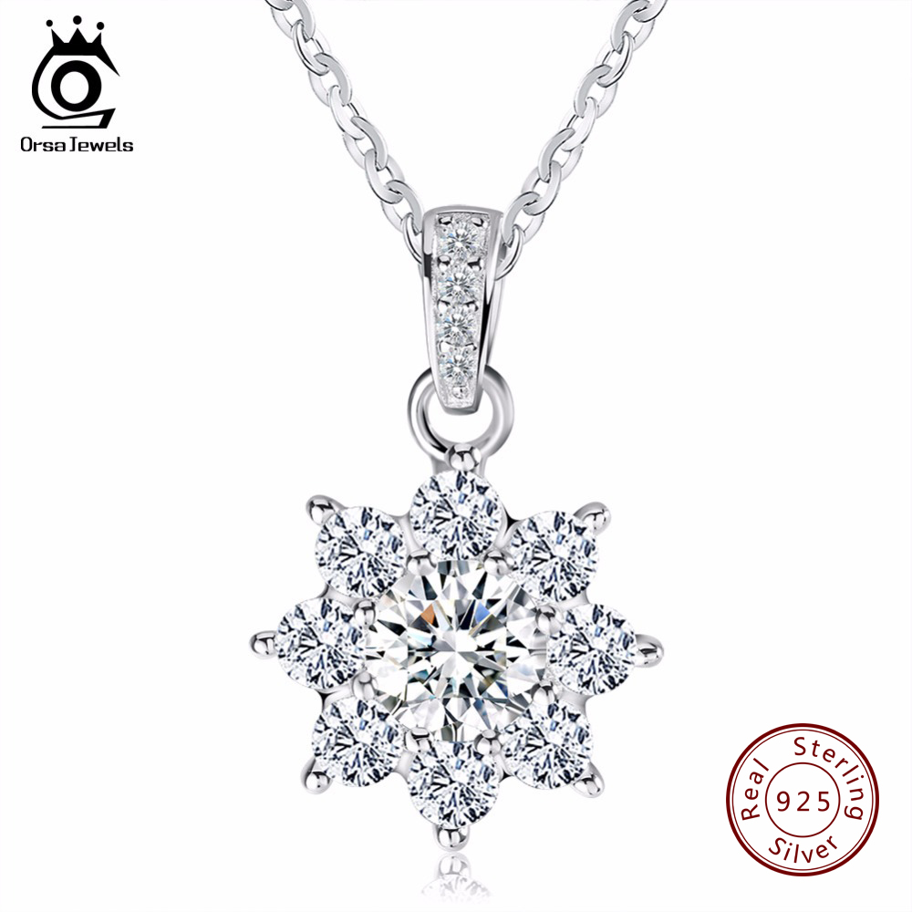 ORSA JEWELS Luxury Crystal Snowflake Pendants&Necklaces Genuine 925 Sterling Sil